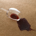 Red wine split on carpet
